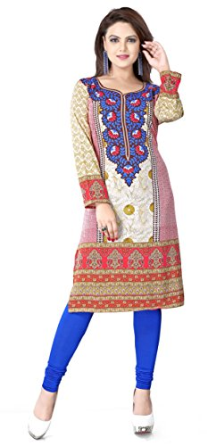 Womens Long India Tunic Top Kurti Printed Blouse Indian Clothing – S…Bust 34 inches, Blue