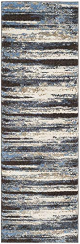 """Safavieh Retro Collection RET2138-1165 Modern Abstract Cream and Blue Runner (2'3"""" x 7') - Abstract design adds an eclectic and artistic flair Plush polypropylene fibers are virtually non-shedding Power-loomed construction ensures resilience in high-traffic areas - runner-rugs, entryway-furniture-decor, entryway-laundry-room - 419pzv9PNXL -"""
