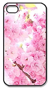 iPhone 4 4s Cases & Covers - Pink Cherry Blossoms Custom PC Soft Case Cover Protector for iPhone 4 4s - Black