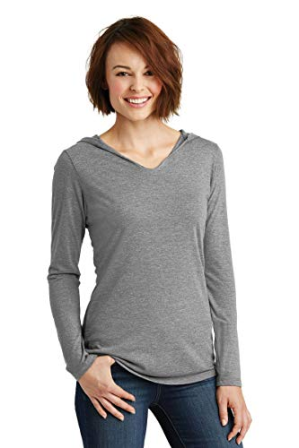 District Made Ladies Perfect Tri Long Sleeve Hoodie. DM139L Grey Frost XL from District Made