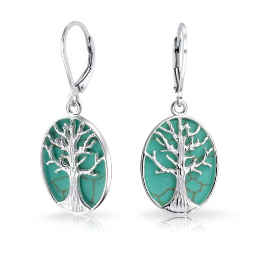 Oval Celtic Stabilized Turquoise Wishing Tree Leverback Dangle Family Tree Of Life Earrings For Women Sterling Silver