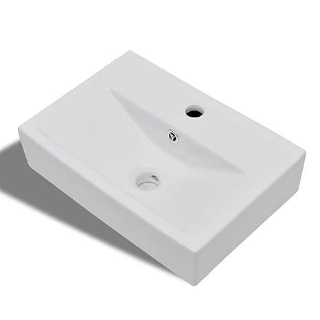 vidaXL Lavandino Lavello bagno Ceramica bianca rettangolare con Foro ...