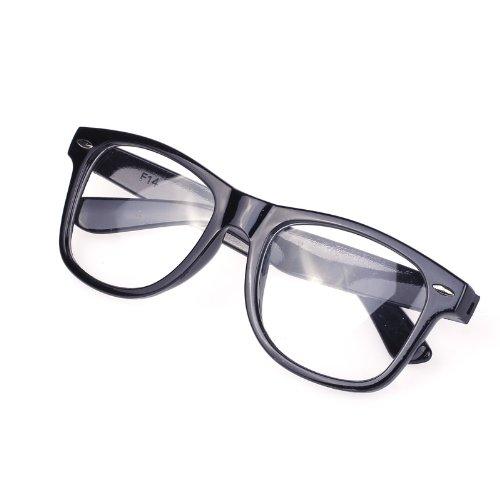Unisex Black Fashion Vintage Clear Lens Frame Retro Style Trendy Cool Nerd Geek Glasses (Cool Nerd Glasses)