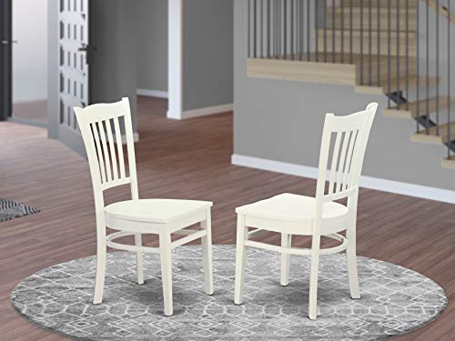 East West Furniture GRC-WHI-W Groton dining chairs - Linen White Wooden Seat and Linen White Solid wood Frame dining chair set of two