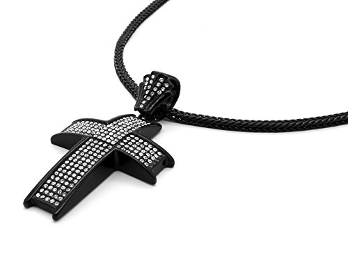 Mens Black Tone Iced Out Clear Cz Cross Dome Pendant Hip-hop 4mm 36