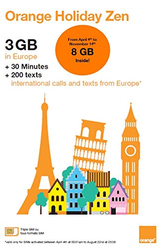 Orange Holiday Europe - 3GB Internet Data in 4G/LTE (currently 8GB promotion for SIMs activated before November 14th) + 30mn + 200 Texts from 30 Countries in Europe to Any Country Worldwide (Iphone 3 To Iphone 4 Sim Card)