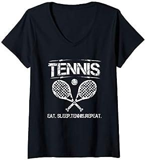 Womens Tennis Eat Sleep Tennis Repeat V-Neck T-shirt | Size S - 5XL