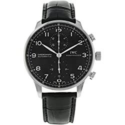 IWC Men's Swiss Quartz Stainless Steel and Leather Watch, Color:Black (Model: 3714-47)