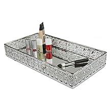 HOME BASICS Decorative Mirrored Bath Vanity Tray, Ornamental