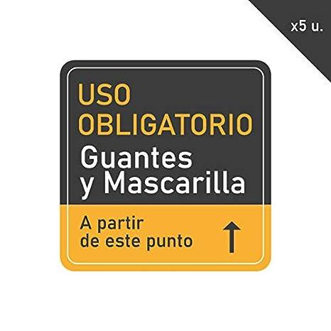Pack 5 Vinilo Señalización de Medidas de Seguridad | Adhesivos de Medidas de Protección para suelo o paredes | Uso Obligatorio Guantes y Mascarilla