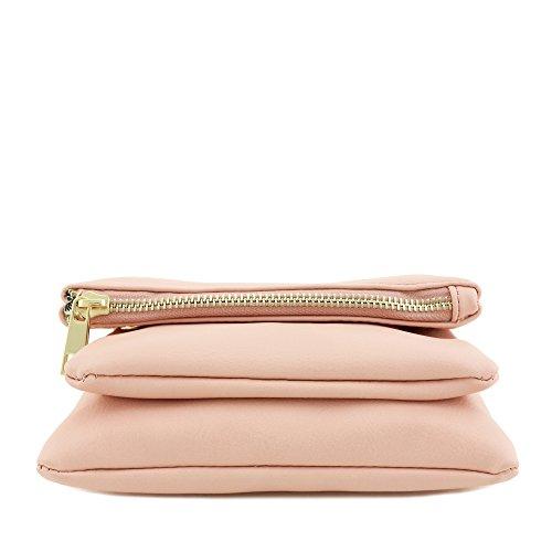 Compartment Flap Pink Bag Mini Crossbody Triple BAqTfwwx