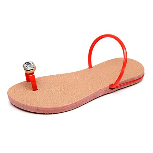Sherostore ♡ Flat Sandals for Women Flip Flops with Clip Toe Ring Rhinestone Crystal Jeweled Sandal Shoes for Summer Beach Red