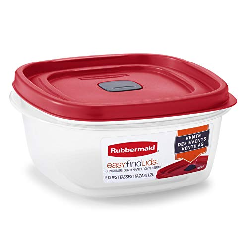 Rubbermaid 2030353 Easy Find Vented Lid Food Storage Containers, 5-Cup