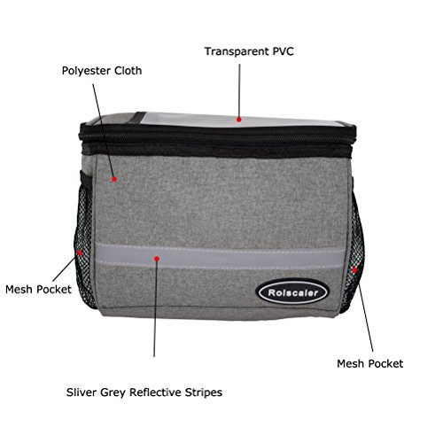 ROLSCALER Bicycle Basket Handlebar Cooler Bag with TPU Touch Screen and Reflective Stripe for Mountain Bike Outdoor Activity Cycling Pack Accessories 3.5L by ROLSCALER (Image #5)