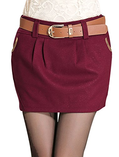 Allegra K Falda Casual De Moda Para Señoras Cremallera Oculta Abajo Cinturón Lateral Altura Media Borgoña