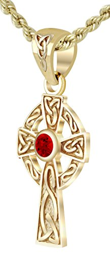 Celtic Cross Sapphire - US Jewels And Gems New Small Solid 14k Yellow Gold Irish Celtic Cross Synthetic Sapphire Pendant Necklace