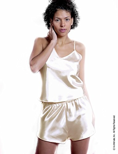 Women's Charmeuse Camisole Tap Set #113b (S, Ivory) Camisole Tap Set