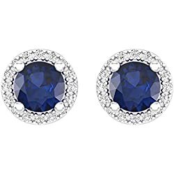 10K White Gold Ladies Halo Style Stud Earrings