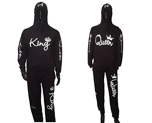 Couple matching King and queen sweatsuits for him and her hoodie + sweatpants (M) by DAVIDMONIK