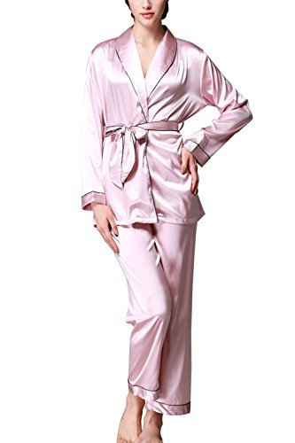 Rughe Women's Sexy Satin Nightgown Silk 2 piece Chemises Slip Sleepwear Pink L (Texere Silk Robe)