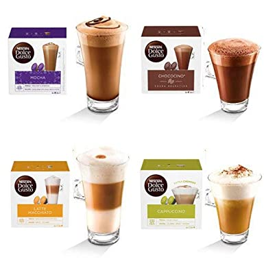 Nescafe Dolce Gusto 4 Flavour Variety Pack 64 Capsules Cappuccino Chocochino Latte Mocha