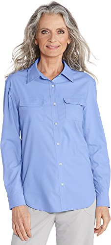 Coolibar UPF 50+ Women's Travel Shirt - Sun Protective (3X- Periwinkle)