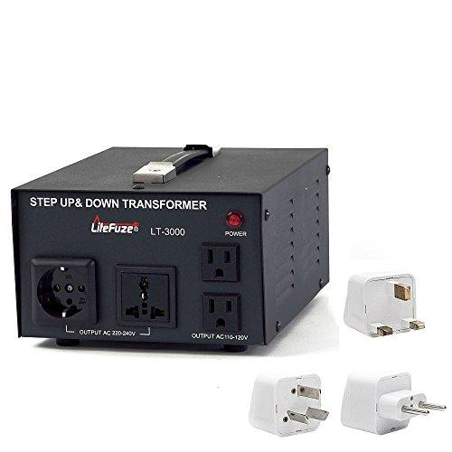 LiteFuze 3000 Watt Best Power Voltage Converter Transformer - Step Up/Down - 110V/220V - Circuit Breaker Protection - with Worldwide UK/US/AU/EU Travel Plug Adapter (Transformer Uk Voltage)