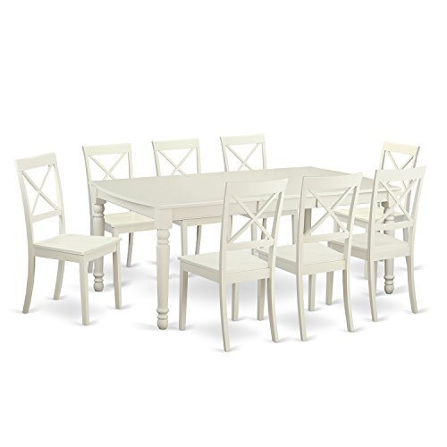 (East West Furniture DOBO9-LWH-W 9 Piece Dining Room Table and 8 Dinette Chairs)