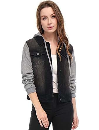 Allegra K Women's Layered Drawstring Hood Denim Jacket w Pockets XS Black