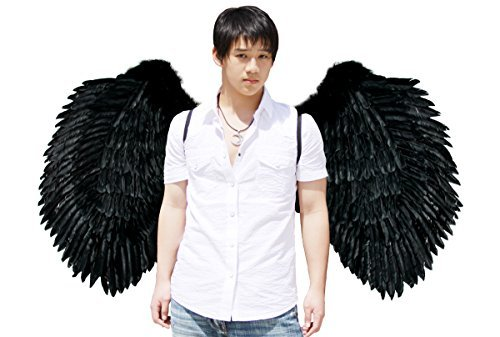 FashionWings (TM) Black XXXL Super Large Wingspan Costume Feather Angel (Giant Wings Costume)