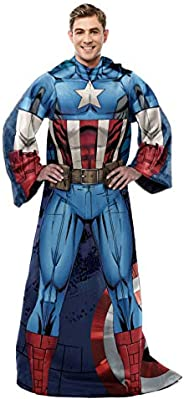 "Marvel's Captain America, ""First Avenger"" Adult Comfy Throw Blanket with Sleeves, 48"""