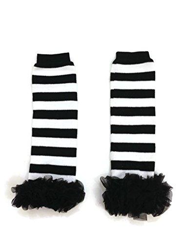 Rush Dance Variety Chiffon Ruffles Baby/Toddler Leg Warmer (One Size, Black & White Stripes - Black Ruffles) -