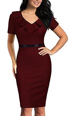 REPHYLLIS Women's Ruffles Short Sleeve Business Cocktail Pencil Dress