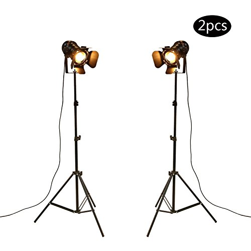 OYGROUP (Pack of 2) Antique Style Floor Lamp Black Tripod Iron Brightness Adjustable Height Lights for Living Room Reading (Lamps Iron Black Floor)