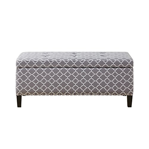 Madison Park FPF18-0503 Shandra II Storage Ottoman - Solid Wood, Polyester Fabric Toy Chest Modern Style Lift-Top Accent Bench for Bedroom Furniture, Medium, Grey Ogee White