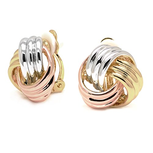 (Sparkly Bride Love Knot Clip On Earrings Tricolor Three-tone Gold Plated Women Fashion )