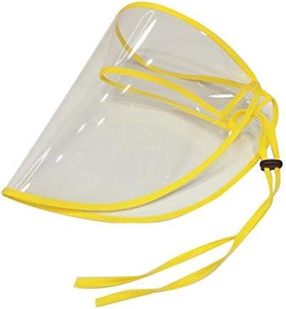 キッズフルフェイスシールドアンチ唾液キャップ、取り外し可能なバイザー付きのプレーンコットン幼児野球キャップ、男の子と女の子のためのアンチスピッティング保護クリアカバーマスク屋外野球帽子 (黄)