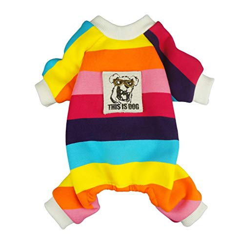 Fitwarm Rainbow Pet Clothes for Dog Pajamas Coats Cat Jumpsuit PJS Velvet XS