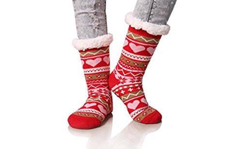 Women's Snowflake Fleece Lining Knit Knee Highs Stockings...