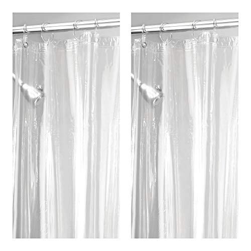 mDesign - 2 Pack - Long Waterproof, Mold/Mildew Resistant, Heavy Duty Premium Quality 4.8-Guage Vinyl Shower Curtain Liner for Bathroom Shower Stall and Bathtub - 72 x 84 - Clear