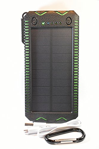 NOMAD'S LIFE Solar Power Bank, 12000 mAh, Water, Dust and Shockproof, Outdoor Portable Charger, Built-in Two Led Lights, Cigar Lighter, Dual USB for IPhone, Android Cell Phones, IPAD, Tablet. (green)