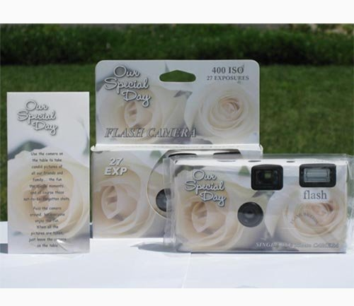10 Pack Elegant Rose Wedding Party Disposable Cameras with Matching Tents, 27 Exp.