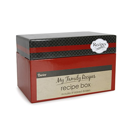 Darice 1219-508 Cutlery Theme Recipe Card Box, Black/Red
