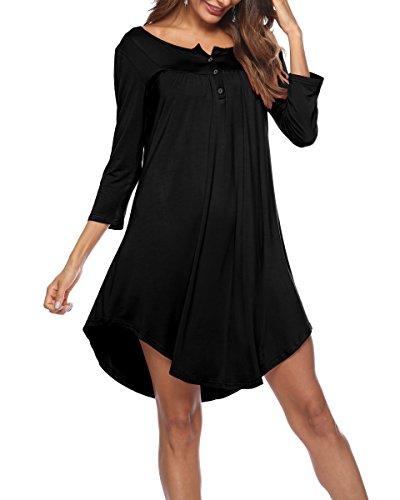 KKSSQUEEN Womens Dresses 3/4 Sleeve V Neck Button up Loose Tunic Casual T Shirt Dress