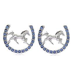 Rhinestones Mustang Horseshoe Earrings