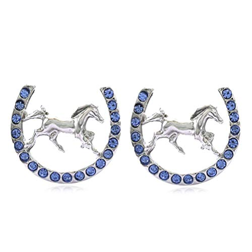 Mustang Horse Charm - Lucky Charm Horseshoe Horse Mustang Pony Stud Post Earrings Rhinestones Fashion Jewelry (Blue)