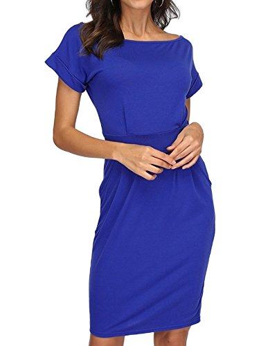 Payeel Office Midi Dresses O-Neck Pencil Dress Pockets with Belt Vest Dresses (Blue, XL) (Tie Wrap Dress)