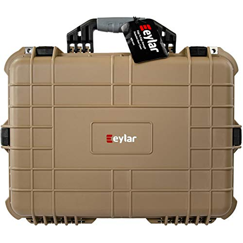 Eylar 20 Inch Protective Large Tactical Gun Hard Case Water and Shock Proof with Foam Tan