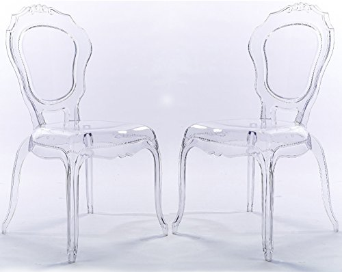 2xhome Set of Two (2) - Belle Style Ghost Side Chairs Dining Room Chair - Accent Seat - Lounge No Arm Arms Armless Less Chairs Seats Higher Fine Modern Designer Artistic (Clear) Style Ghost