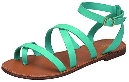 Breckelles Womens Strappy Gladiator Wrap Flat Sandal Aqua